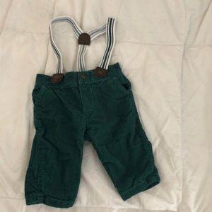 Green suspender pants 0-3 M